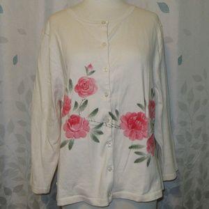 Garnet Hill Cotton Floral Cardigan NWOT XL